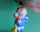 Porcelain Figurine Little Girl with Doll and Duck
