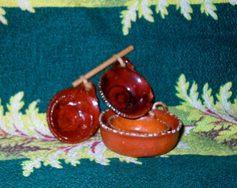 Four Mininature Mexican Doll Redware Bowls made in Mexico