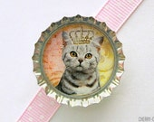 Cat Queen Bottle Cap Magnet - cat magnets, handmade fridge magnet cat, fridge magnet, cat party favors, funny cat gift, funny magnet, art