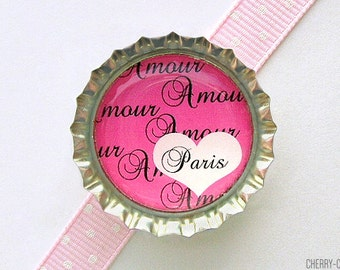 Amour Pink Paris Bottle Cap Magnet - paris magnet, paris party theme, french country home decor, pink paris decorations, paris wedding favor