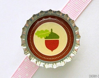Acorn Brown Bottle Cap Magnet - baby shower ideas, woodland nursery decor, woodland baby shower, woodland party favors, woodland birthday