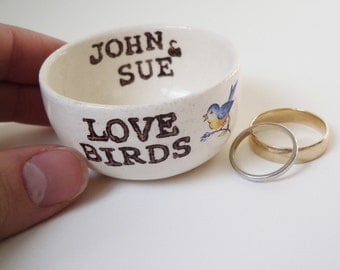 CUSTOM RING DISH love birds with blue bird image and names of couple or wedding date any custom text personalized ring holder wedding gift