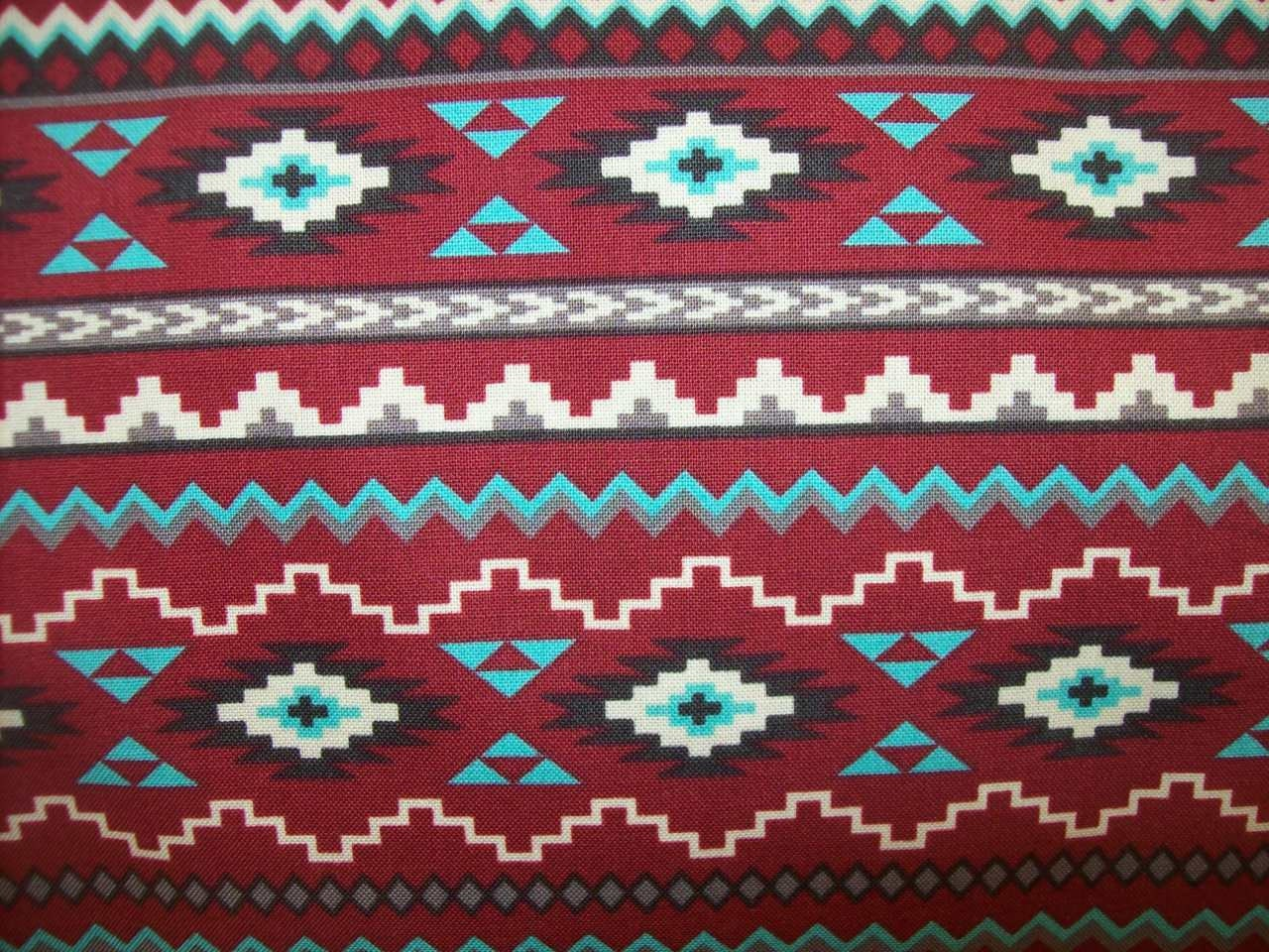 Half Yard Red Tribal print fabric/ Native print fabric