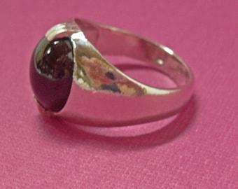 Garnet Ring - Men's Garnet and Sterling Silver Ring - Men's Ring Size 8 1/2