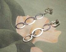Triple Oval Silver Dangle Clip on Earrings or Pierced
