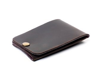Minimal Snap Wallet- Ready to ship- leather snap wallet
