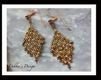 Women's Habd Beaded Earrings-382 Women's Earrings, One of a Kind, Handmade Dangle Earrings, Beaded Earrings, Beaded Dangles
