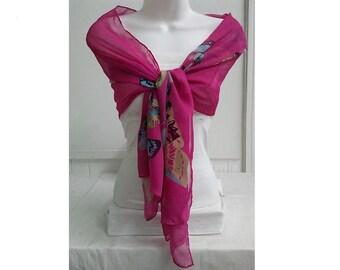 Fuchsia Butterflies Printed  Chiffon Scarf, Fashion Accessory, Fuchsia  Scarf