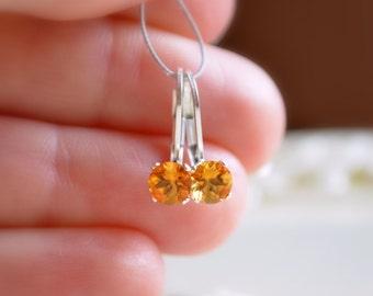 Birthstone Earrings, Citrine Gemstone, November Birthday, Leverback Earwires, Real Genuine Stone, Tween Girl, Sterling Silver Jewelry