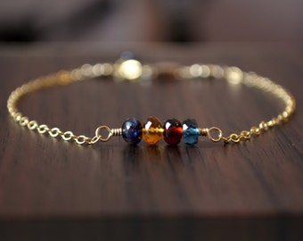 Delicate Family Bracelet, Gold or Sterling Silver, Real Gemstones, Birthstone Jewelry, Custom, Dainty, Mother's Day Gift for Mom