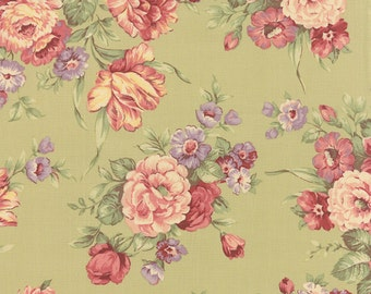 Roses & Chocolates - Rose Bouquet in Sage by Sentimental Studios for Moda Fabrics - Last Yard