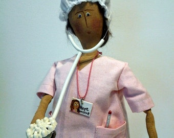 Hope for the Cure,Dr, nurse, health care worker, pink scrubs, Mammography collectible Sew Be It doll
