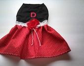 Red and Black Ruffled Dog Dress