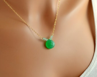 Kelly Green Necklace, Chalcedony Gemstone Jewelry, Pale Aqua Stones, Wire Wrapped, Gold Filled Cable Chain, Summer, Free Shipping