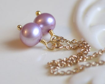 Lavender Pearl Earrings, Threaders, Wire Wrapped, Genuine Freshwater, Lilac Orchid, Simple Gold Jewelry, Free Shipping