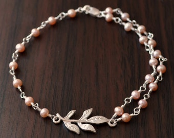 Pink Pearl Bracelet, Dainty and Pretty, Genuine Mauve Freshwater, Real Sterling Silver Leaf, Asymmetrical Jewelry, Free Shipping