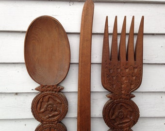 "Vintage Large Set of 3 Wood Spoon and Fork and Knife Wall Decoration 37"" tall Very Rare"