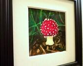 Red Toadstool Mushroom Original Watercolor Painting Framed, Red Mushroom Watercolor Framed, Christmas gift watercolor painting framed