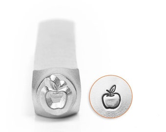 Metal Design Stamp ...Apple 6mm... for Stamping, Jewelry, Scrapbooking, Wood, Clay, Leather, more....