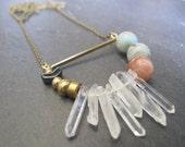 Solar Eclipse Necklace //  Quartz, Chevron, Geometric Necklace // Geometric Necklace // Geometric Jewelry