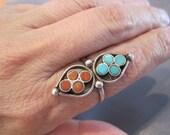 Vintage Sterling Turquoise Coral Teardrop Ring