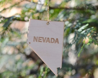 Natural Wood Nevada State Ornament