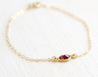 Tiny Faceted Garnet Gemstone Connector Bracelet // 14K Gold filled // simple everyday delicate jewelry