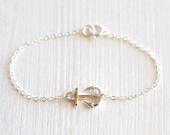 Thick Horizontal Anchor Bracelet // Sterling Silver