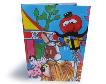 The Magic Roundabout A5 Book Cover - Upcycled Vintage Comic Book in Vinyl