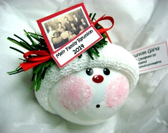 Genealogy Christmas Ornaments 2017 Personalized Photo Tag Sample Hand Painted Handmade Themed by Townsend Custom Gifts
