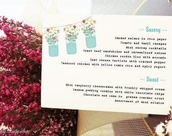 Menu Card - Mason Jars with Wildflowers - Rustic Chic Weddings or Events