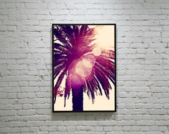 PALM TREE Photo, Palm Tree in the Sunset Photo, Palm Tree Silhouette Photo, Palm Tree and Sun Flare Photo,  Magenta Palm Tree, Large Palm