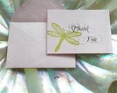 Set of 50 Dragonfly Thank You Cards in Lavender and Green (No. 056.1)