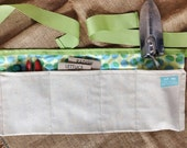 Garden Tool Belt (Yellow and green circle print with natural fabric and light green ribbon)