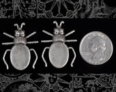 Silver Plated Brass Beetle Flat Setting on Back Set of Two XXX S-P71