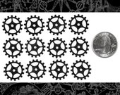 Blackened Brass Steampunk Open Spoke Faux Gears Wheels Set of 12  BB-G04