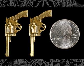 Raw BrassMedium Sized Western Gun Pendants - * Set of Two B-P76