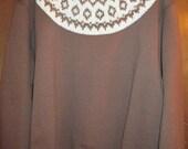 ladies sweatshirt with handknit fair isle yoke