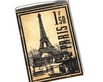 PASSPORT COVER - Vintage Eiffel Tower Postage Stamp. Paris, France. Passport Holder. Passport Case, Travel Wallet, Travel Gift Idea,