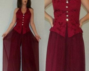 785 XS S Vtg 70s 80s Sheer Mesh Floral Brocade Wide Leg Palazzo Pants Cage Cut Out Pantsuit Jumpsuit