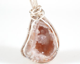 Geode Crystal Wire Wrap Pendant Heady Wirewrap Necklace FREE SHIPPING