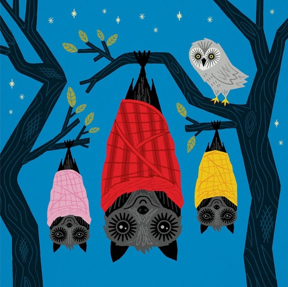 Bats in Blankets - Children's Animal Art Poster - Bat and Owl art print by Oliver Lake - iOTA iLLUSTRATiON