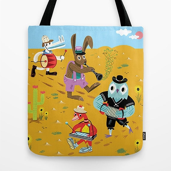 "The Animal Jamboree - Tote Bag - Book Bag - Record bag - 16"" x 16"""
