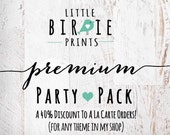 Add On PREMIUM PARTY PACK To match any theme in my shop Includes Invitations
