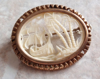 Antique Celluloid Brooch Pin Tropical Tall Ships Scene French Ivory Trombone Clasp Vintage V0332
