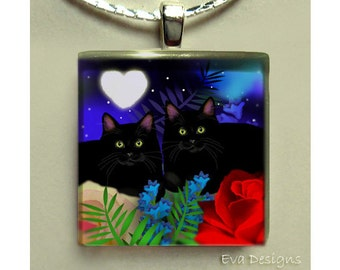 BLACK CATS love bugs necklace jewelry art gift pet 1 inch glass tile pendant with chain