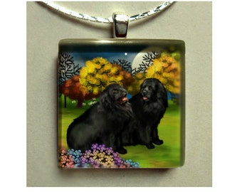 NEWFOUNDLAND DOGS moon night necklace pet art gift pet 1 inch square glass tile pendant with chain