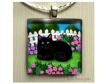BLACK CAT GARDEN necklace jewelry art gift pet 1 inch glass tile pendant with chain