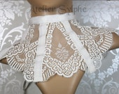 Ivory color lace neck corset collar with delicate style ribbon back lacing and zip closure
