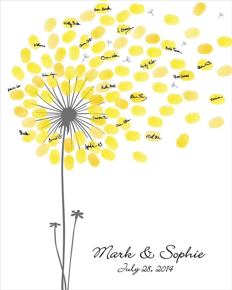 Wedding guest book wedding guest book dandelion fingerprint for Fingerprint template sample